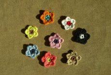 Két-színű 5 szirmú horgolt virág (3cm) sok színben