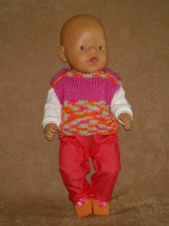 4 részes együttes, játékbaba ruha 40-45cm-es babáknak.