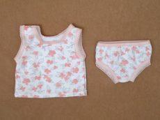 Virágos fehérnemű szett, játékbaba ruha