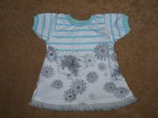 Csíkos-virágos hálóing, játékbaba ruha